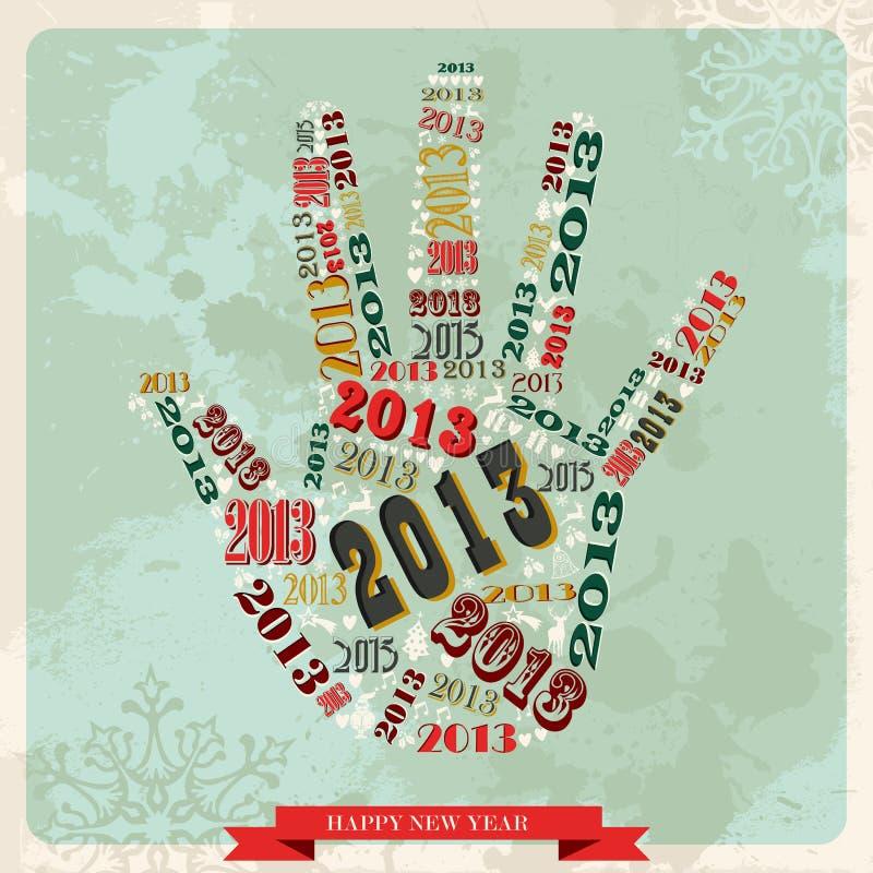 Räcker lyckligt nytt år 2013 för tappning royaltyfri illustrationer