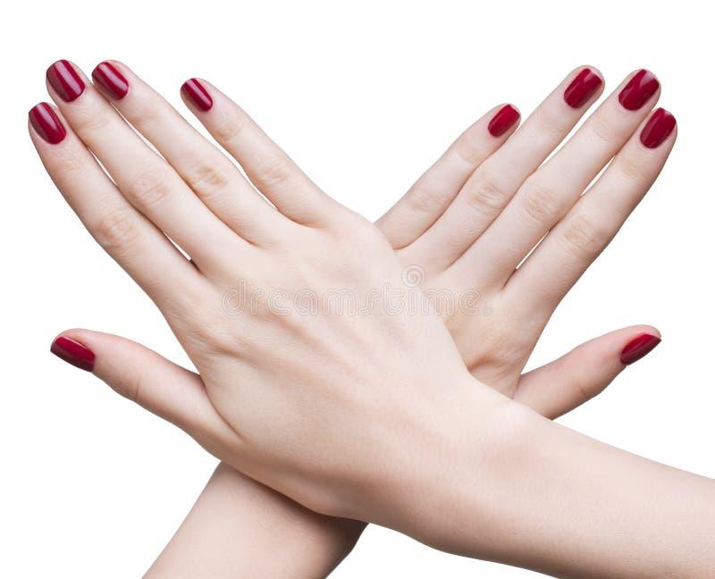 Räcker med den röda manicuren arkivfoton