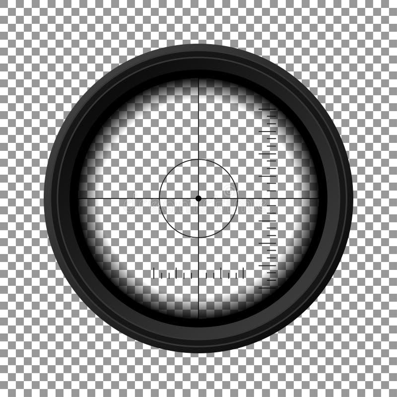 Räckvidd för prickskyttgevär Militär vapensikt Mall av optiskt exponeringsglas var målet för begreppet för den center cirkeln val royaltyfri illustrationer