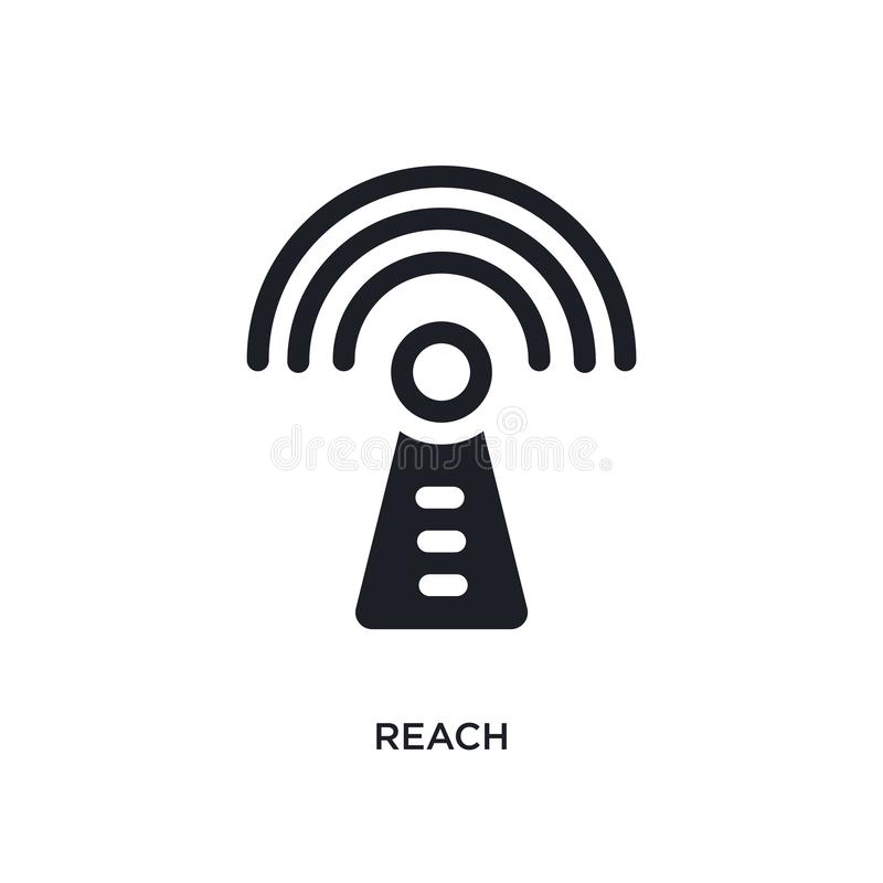 räckvidd isolerad symbol enkel beståndsdelillustration från teknologibegreppssymboler för logotecken för räckvidd redigerbar desi vektor illustrationer