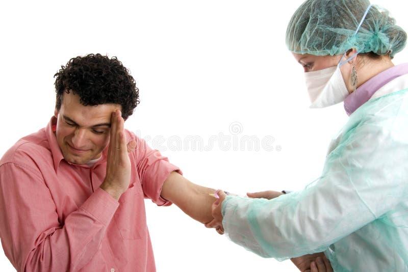 rädd injektion arkivbild