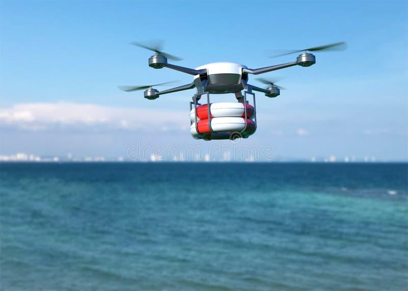 Rädda surret med livbojet som flyger över havet stock illustrationer