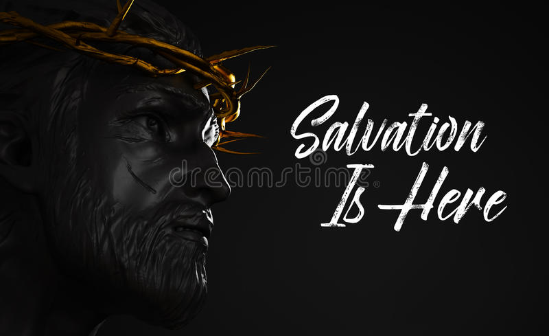 Räddning är här Jesus Christ Statue med den guld- kronan av taggar vektor illustrationer
