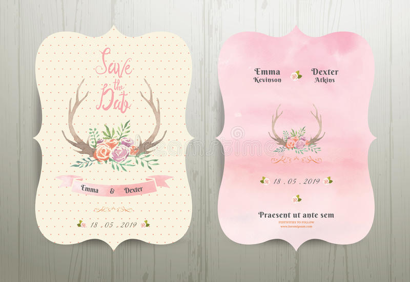 Räddning för bröllop för horn på kronhjortblommor lantlig datuminbjudankortet 02 stock illustrationer