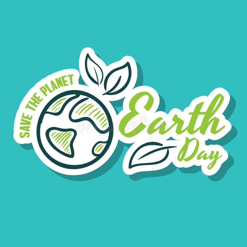 Räddning för klistermärkejorddag planeten royaltyfri illustrationer