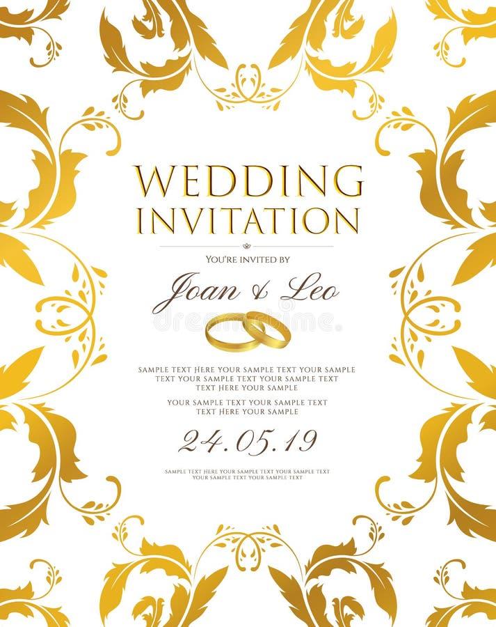 Räddning för mall för bröllopinbjudandesign datumkortet Klassisk guld- bakgrund med den guld- blom- gränsramen vektor illustrationer