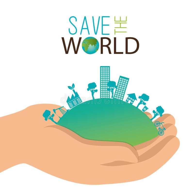 räddning för stad för håll för ekologibegreppshand världen vektor illustrationer