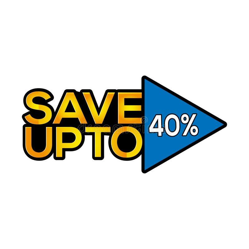 Räddning upp till 40 procent symbolsmateriel-vektor vektor illustrationer