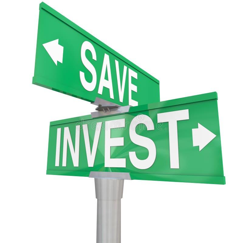 Räddningen Vs investerar ordtvåvägsgatatecken, investering somval väljer royaltyfri illustrationer
