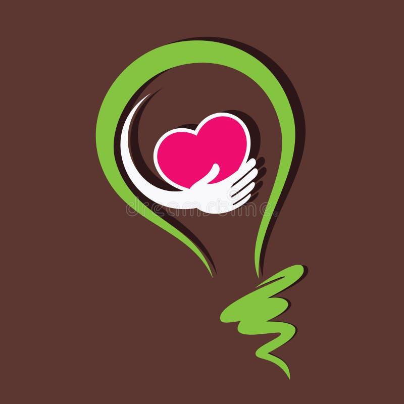 Räddninghjärta och sund hjärta i kula royaltyfri illustrationer