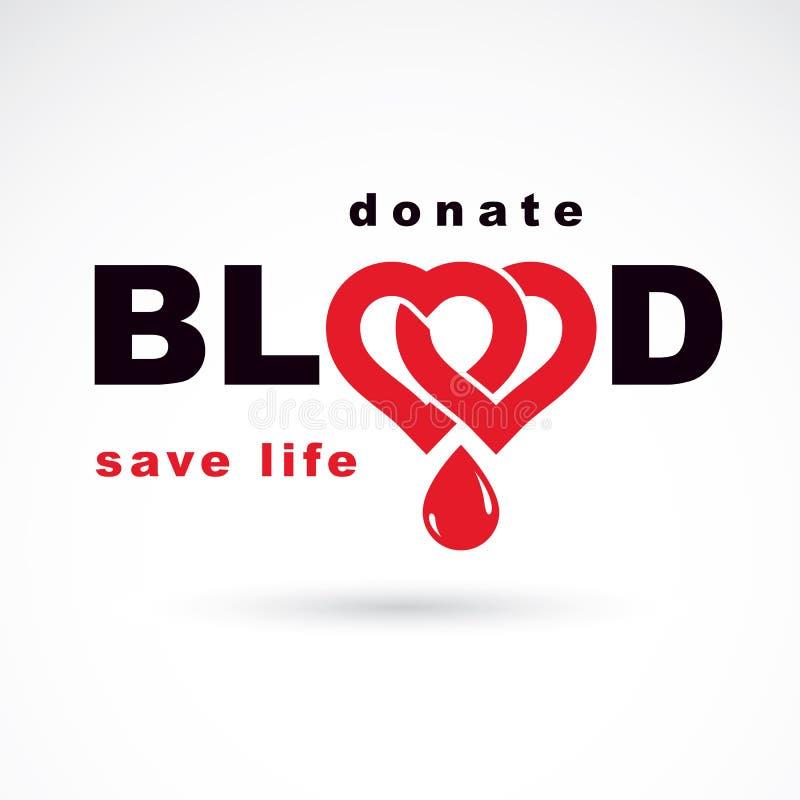 Räddningliv och att donera blod, begreppsmässig skapad vektorillustration för rehabilitering genom att använda hjärtaform vektor illustrationer