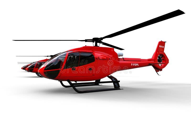 Räddningsaktionhelikopterrad stock illustrationer