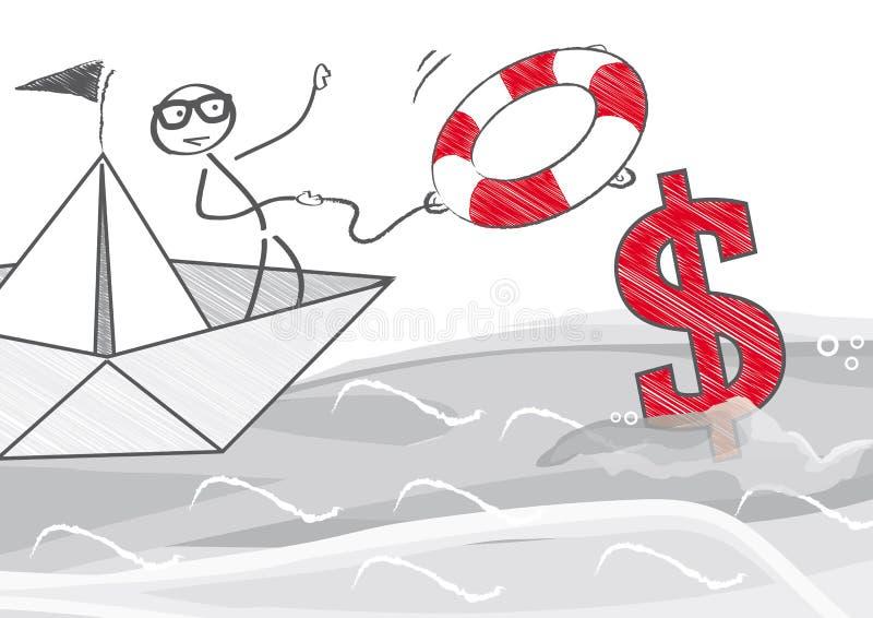 Räddningsaktionpengar vektor illustrationer