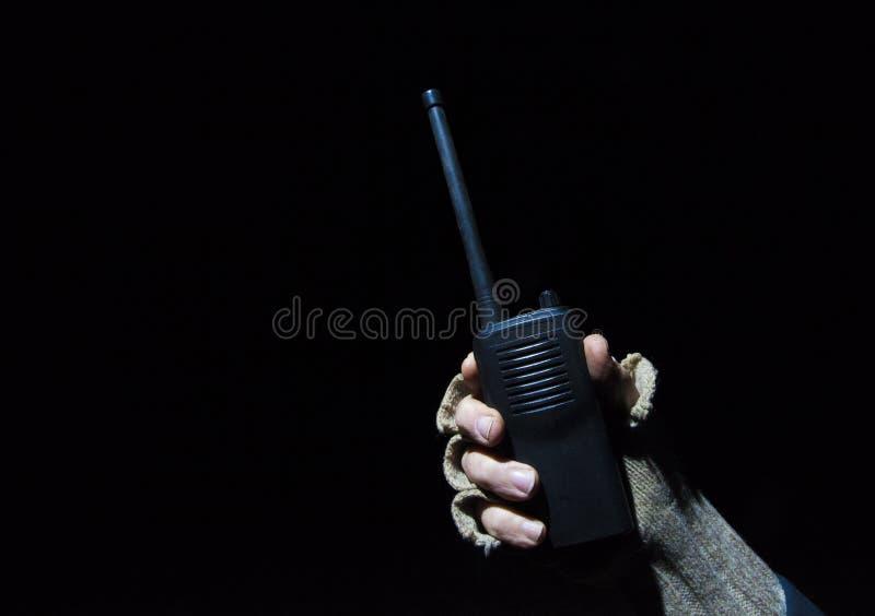 Räddningsaktionradio på natten royaltyfri foto