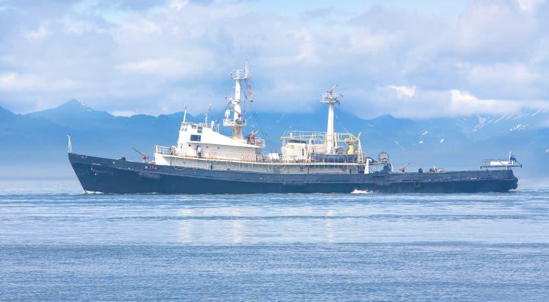 Räddningsaktionskepp i den Avacha fjärden av Stilla havet royaltyfria foton