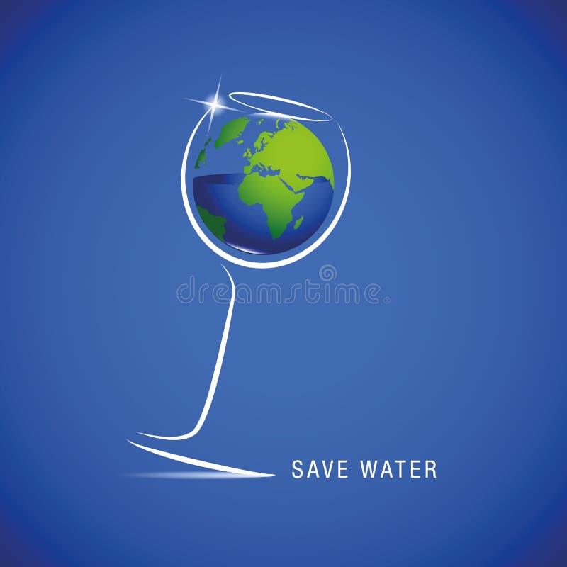 Räddningvatten för jorden i exponeringsglas royaltyfri illustrationer