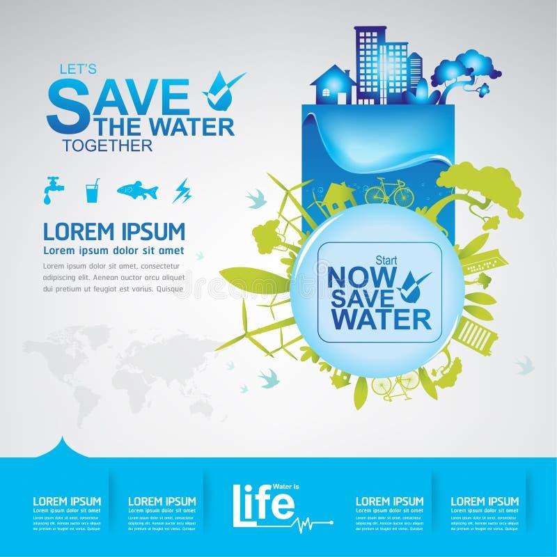 Räddningvattenvektor vektor illustrationer