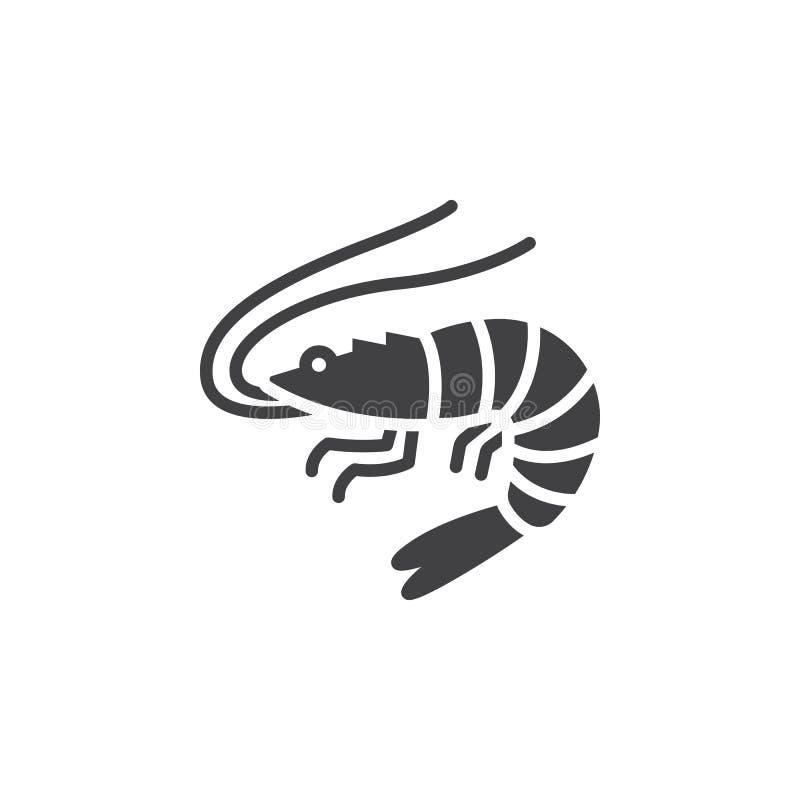 Räka räkasymbolsvektor, fyllde det plana tecknet, den fasta pictogramen som isolerades på vit stock illustrationer