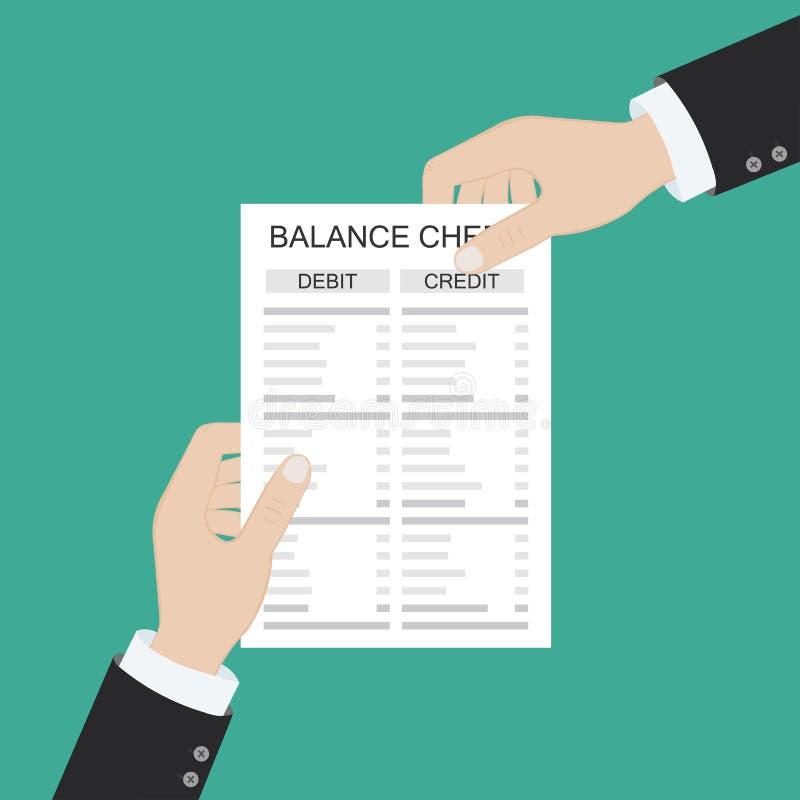 Räkenskapsförare med rapport och kalkylator kontrollerar penningbalansen Utdrag och dokument i finansiella rapporter Redovisning, royaltyfri illustrationer