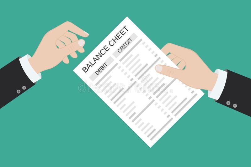 Räkenskapsförare med rapport och kalkylator kontrollerar penningbalansen Utdrag och dokument i finansiella rapporter Redovisning, stock illustrationer