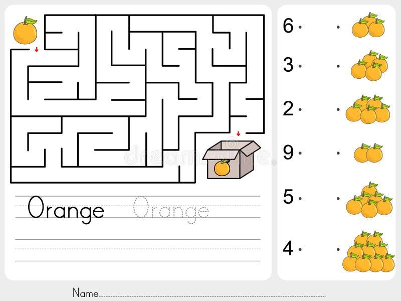 Räkna apelsiner och matchen med nummer - välj leken för äppleasklabyrint stock illustrationer