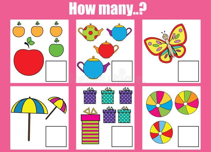 Räkna bildande barn lek, ungeaktivitet Hur många objekt task vektor illustrationer