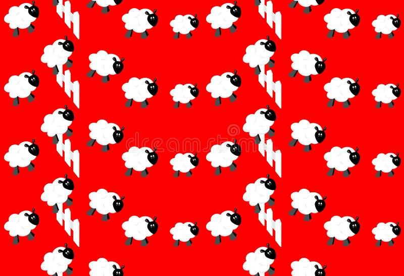 räkna fårwallpaperen royaltyfri illustrationer
