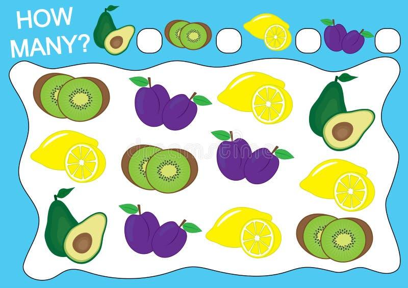 Räkna hur många frukter Bildande lek för förskole- barn vektor illustrationer