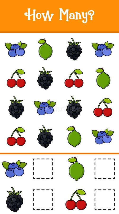 Räkna hur många frukter royaltyfri illustrationer