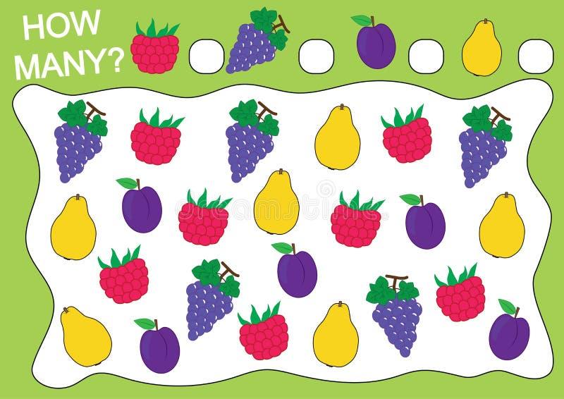 Räkna hur många frukter och bär hallon, druvor, plommon, kvitten stock illustrationer