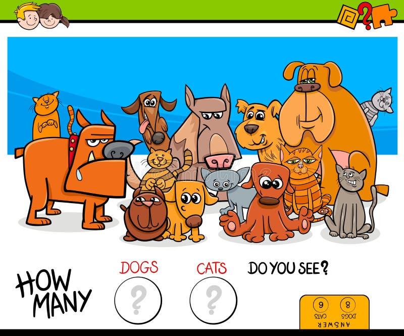 Räkna katter och den bildande leken för hundkapplöpning för ungar vektor illustrationer