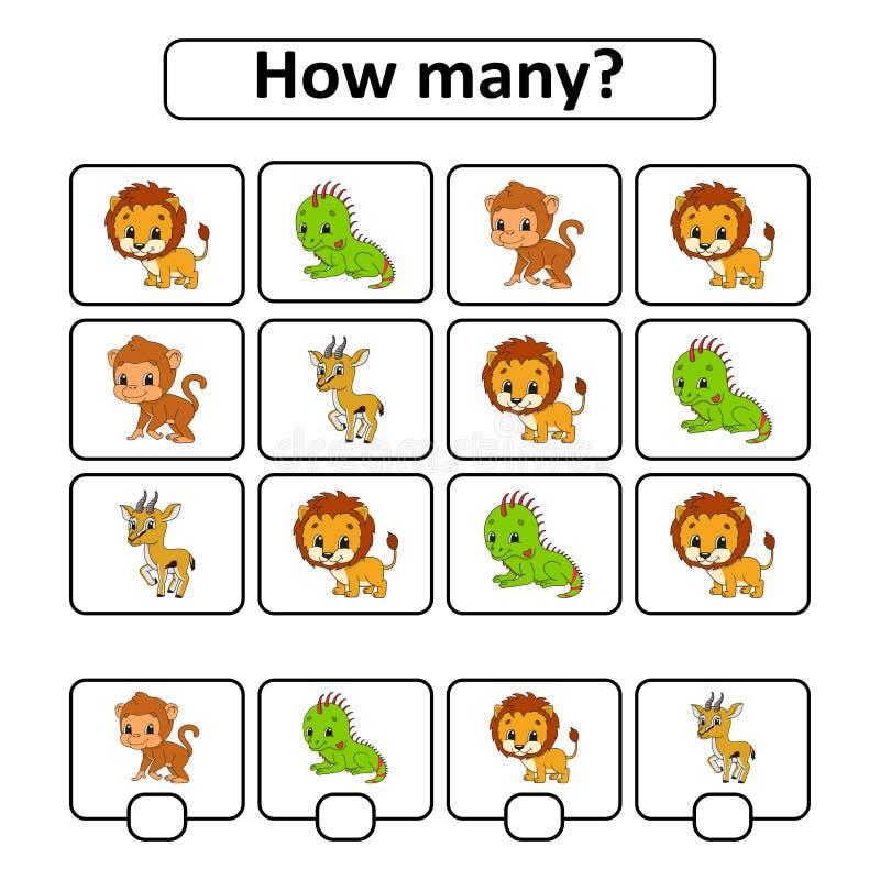 Räkna leken för barn av den förskole- åldern lära matematik Hur många djur i bilden Med utrymme för svar enkelt vektor illustrationer