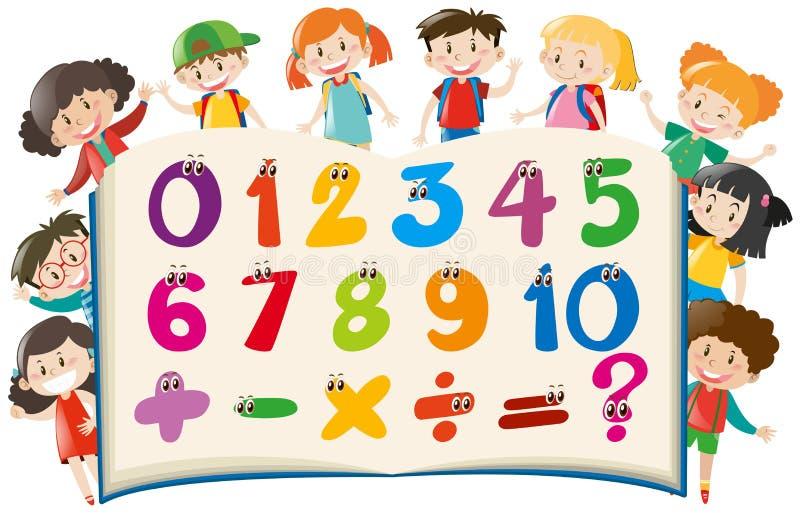 Räkna nummer med lyckliga barn royaltyfri illustrationer