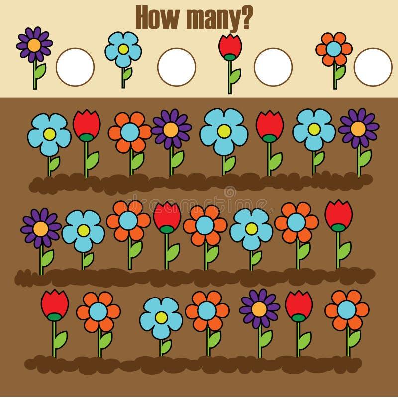 Räkna spelar bildande barn, matematikungeaktivitet Hur många objekt task vektor illustrationer