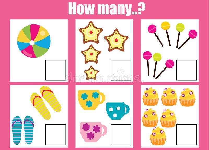 Räkna spelar bildande barn, matematikungeaktivitet Hur många objekt task royaltyfri illustrationer