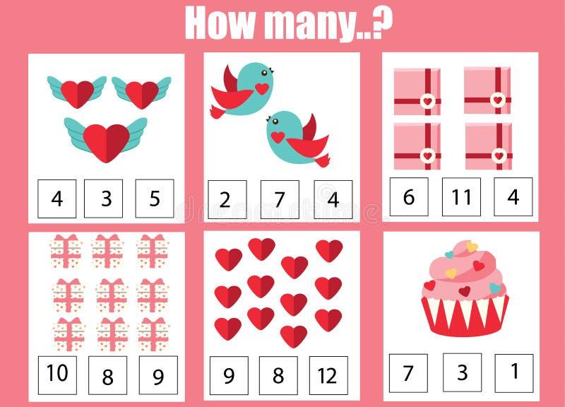 Räkna spelar bildande barn, ungeaktivitetsarbetssedeln Hur många objekt lära matematik Tema för dag för St-valentin s royaltyfri illustrationer