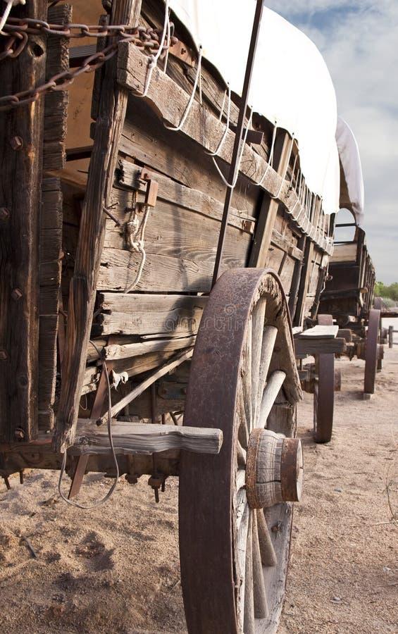 räknad gammal västra drevvagn royaltyfri fotografi