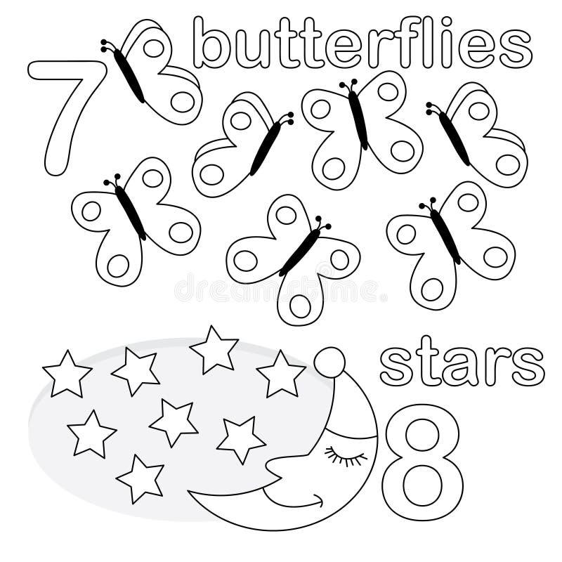 räknande modigt nummer 7 8 vektor illustrationer