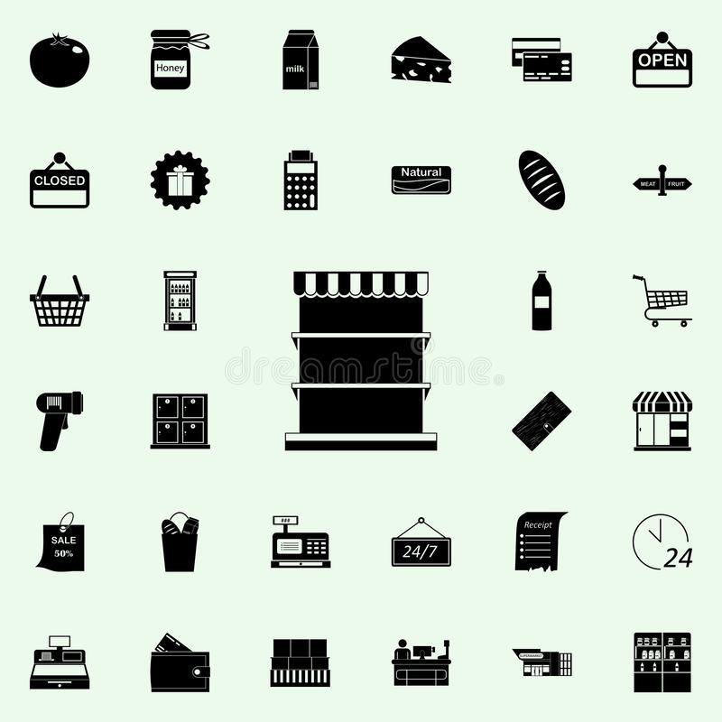 räknare för produktsymbol marknadsföra den universella uppsättningen för symboler för rengöringsduk och mobil stock illustrationer