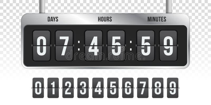Räknare för tidmätare för vektor för Flipnedräkningklocka royaltyfri illustrationer