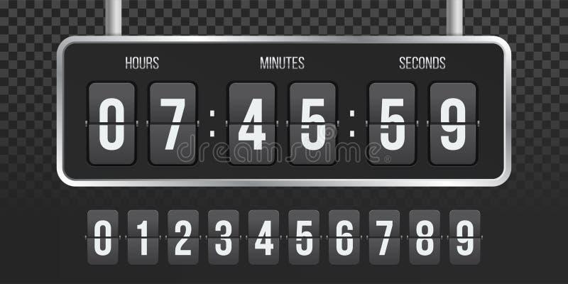 Räknare för vektor för Flipnedräkningklocka stock illustrationer