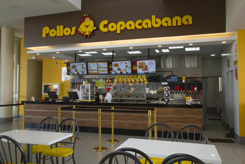 Räknare i snabbmatrestaurangen Pollos Copacabana royaltyfri fotografi
