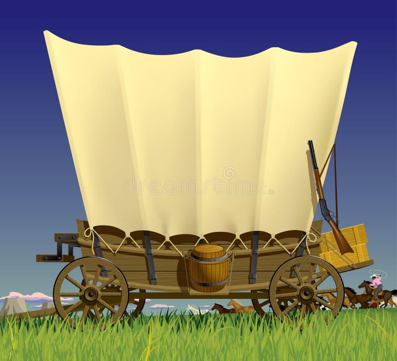 räknat västra wild för vagn vektor illustrationer