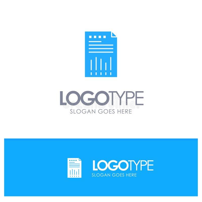 Räkneark affär, data som är finansiella, graf, papper, blå fast logo för rapport med stället för tagline royaltyfri illustrationer