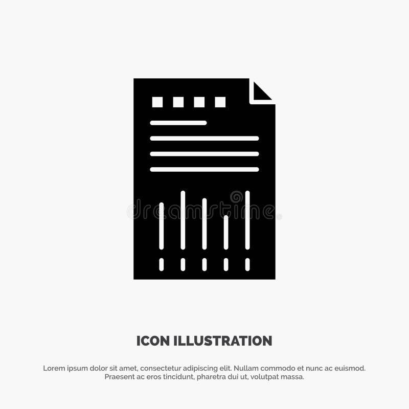 Räkneark affär, data som är finansiella, graf, papper, för skårasymbol för rapport fast vektor royaltyfri illustrationer