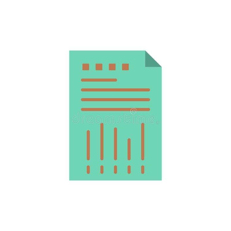 Räkneark affär, data som är finansiella, graf, papper, plan färgsymbol för rapport Mall för vektorsymbolsbaner royaltyfri illustrationer