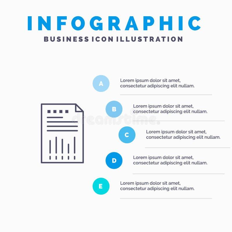 Räkneark affär, data som är finansiella, graf, papper, rapportlinje symbol med för presentationsinfographics för 5 moment bakgrun stock illustrationer