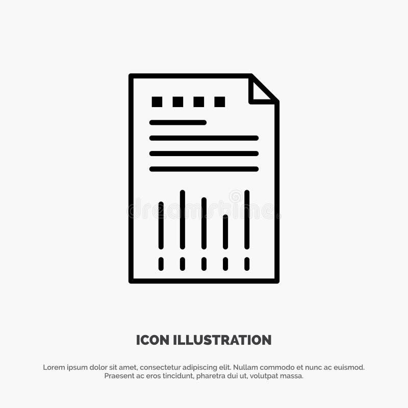 Räkneark affär, data som är finansiella, graf, papper, rapportlinje symbolsvektor stock illustrationer
