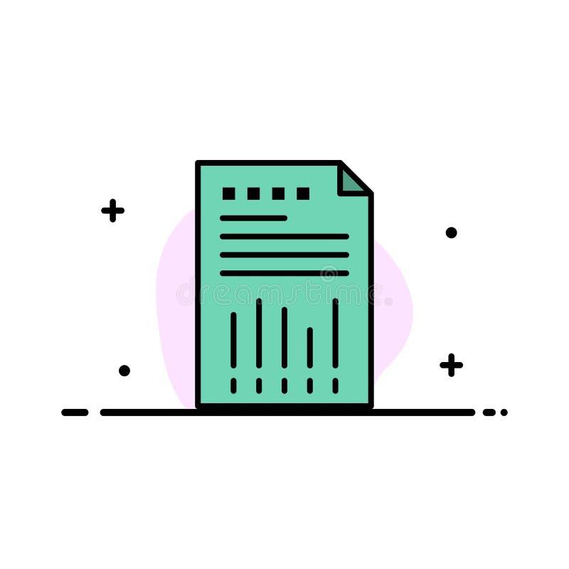 Räknearket affären, data som var finansiella, grafen, papper, plan linje för rapportaffär, fyllde mallen för symbolsvektorbanret vektor illustrationer