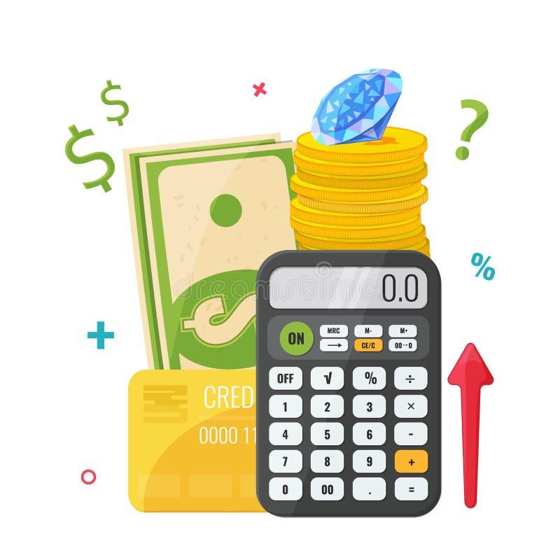 Räknemaskin med pengar, mynt, diamanten och kreditkorten stock illustrationer